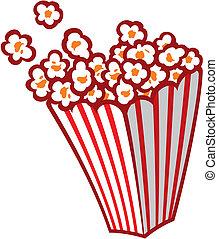 popcorn, strisce, vasca