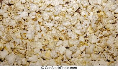 Popcorn sweet closeup.Slow motion.