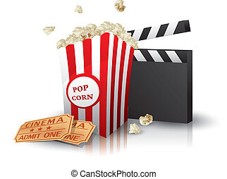 Popcorn, tickets and clapperboard - Popcorn and movie...