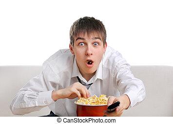 popcorn, tiener, verwonderd