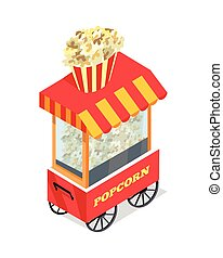 Popcorn Trolley in Isometric Projection. Vector