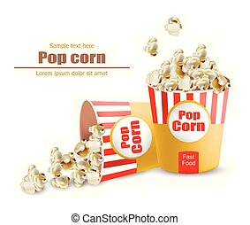 Popcorn Vector realistic. 3d detailed illustrations