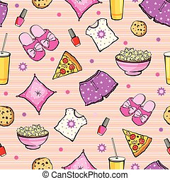 popcorn., vector, sueño, alimento, objetos, pajamas., rosa, pizza., seamless, treat., pattern., fiesta