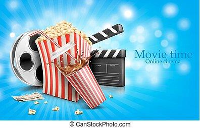 popcorn, vetro, schizzo, film, cola