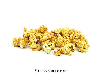 popcorn, vit, karamell, bakgrund