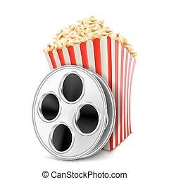 popcorn, wektor, szpula, film, ilustracja