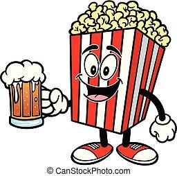 Popcorn with a mug of Beer
