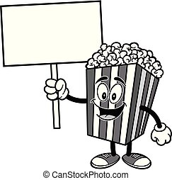 Popcorn with a Sign Illustration