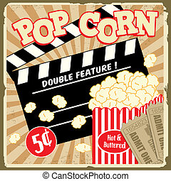 Popcorn with clapper board and movie tickets on vintage grunge poster, vector illustration
