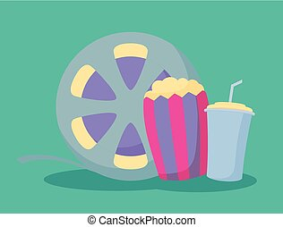 popcorn with drink and tape reel