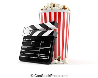 Popcorn with film slate isolated on white background