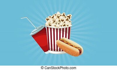 Popcorn with soda and hot dog icon