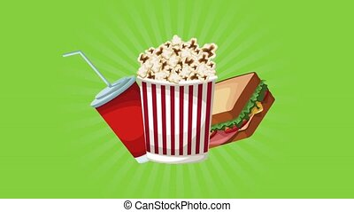 Popcorn with soda and sandwich