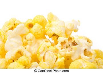 Popcorn with white background close up shot