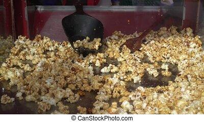 Popcorns popper in a popcorn machine. Gimbal stabilizer...