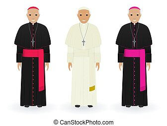 Pope, cardinal and bishop in characteristic clothes isolated...