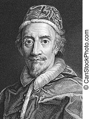 Pope Clement IX (1600-1669) on engraving from the 1800s. Born Giulio Rospigliosi, was Pope during 1667-1669. Engraved by J.Wedgwood from a painting by Carlo Maratti and published in 1821 for the Proprietor, London.