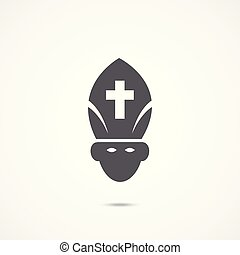 Pope Flat Icon - Pope Icon on white background