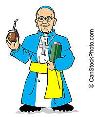 Pope Francis I drinking a mate - Cardinal Jorge Mario...