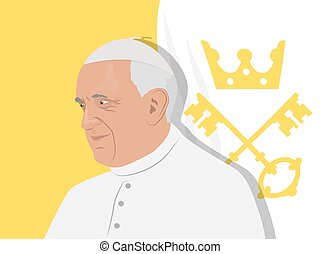Pope Francis illustration - November 10, 2017. Editorial...