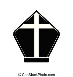Pope hat silhouette - Isolated pope hat silhouette. Catholic...