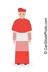 Pope or cardinal character in characteristic clothes isolated on a white background. Catholic priest in cassocks.