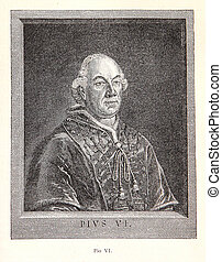 Pope Pius VI, engraving portrait