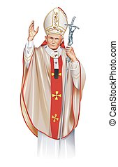 Pope Saint John Paul II Illustration Isolated on White. Pope...