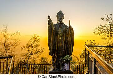Pope Statue in Santiago, Chile - Statue of Pope John Paul II...