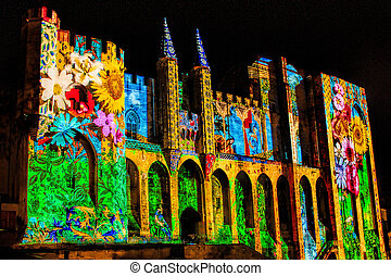 Popes' Palace in Avignon, France by night - The walls of the...