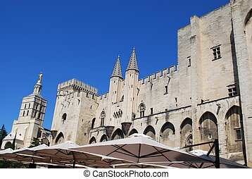 Popes Palace in Avignon - Popes Palace and Notre Dame church...