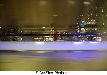 poplamiony, abstrakcyjny, prospekt, z, okno, na, noc, miasto