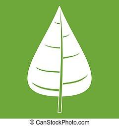 Poplar leaf icon green - Poplar leaf icon white isolated on...