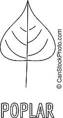 Poplar leaf icon, outline style. - Poplar leaf icon. Outline...