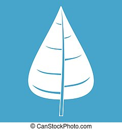 Poplar leaf icon white isolated on blue background vector...