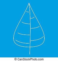 Poplar tree leaf icon, outline style