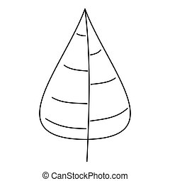 Poplar tree leaf icon, outline style