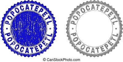 popocatepetl, gratté, timbres, grunge