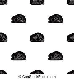 popocatepetl, icône, dans, noir, style, isolé, blanc, arrière-plan., mexique, pays, symbole, stockage, vecteur, illustration.