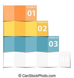 popolare, affari moderni, infographics, opzioni, bandiera, vettore