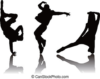 popolare, ballerino, silhouette