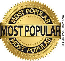 popolare, etichetta, la maggior parte, vettore, dorato