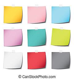 popolare, palo, carta colore, nota, vendemmia, e, realistico, uggia, con, moltiplicare, isolato, sfondo bianco
