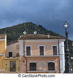 Popoli (L'Aquila, Abruzzi, Italy): historic buildings in Piazza della Liberta, the main square of the city