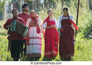 popolo, gruppo, uomini, giochi, russo, celebrazione, ...
