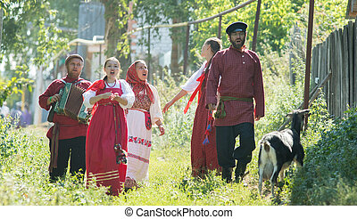 popolo, gruppo, uomini, russo, celebrazione, costumi, donne...