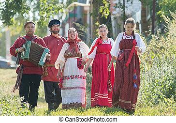 popolo, gruppo, uomini, russo, celebrazione, costumi, nature...