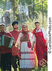 popolo, gruppo, uomini, villaggio, russo, celebration., ...