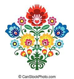 popolo, ricamo, con, fiori