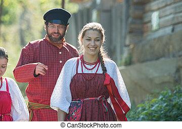 popolo, russo, celebrazione, costumi, nature., donna uomo